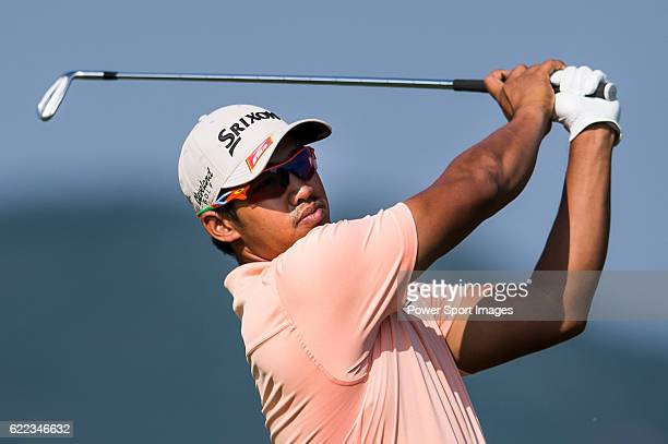 Ahmadfauzi Muhammad arie irawan of Malaysia in action during the Clearwater Bay Open as part of the PGA Tour China at the The Clearwater Bay Golf...