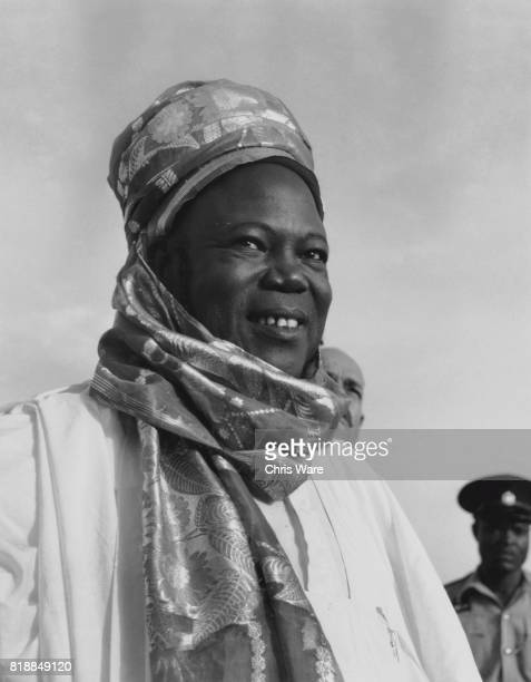 Ahmadu Bello the premier of Northern Nigeria at Kano airport in Nigeria 14th May 1959 He is awaiting the arrival of the Duke and Duchess of...