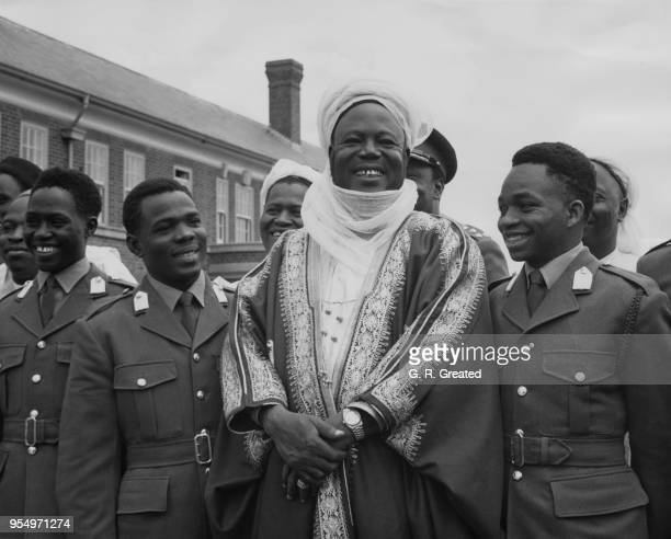 Ahmadu Bello the Sardauna of Sokoto and Premier of Northern Nigeria visits Nigerian cadets at the Mons Officer Cadet School in Aldershot UK 26th July...