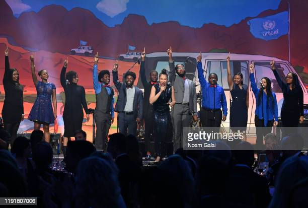 Ahmaya Knoelle Higginson and members of Sing Harlem performs onstage during the 15th Annual UNICEF Snowflake Ball 2019 at Cipriani Wall Street on...