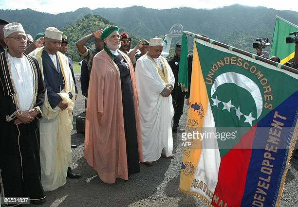 Ahmed Abdallah Mohamed Sambi the president of Comoros is greeted upon his arrival to the Comoran island of Anjouan on April 5 African Union President...