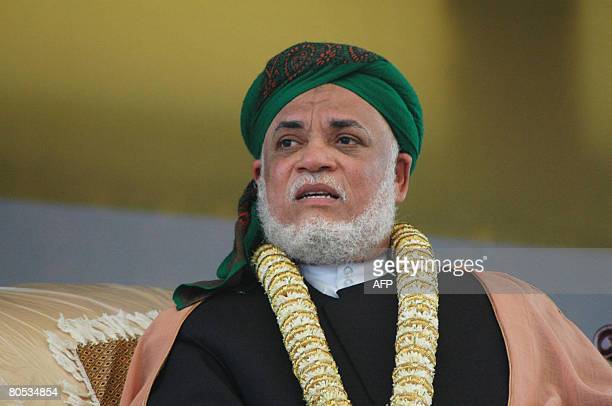 Ahmed Abdallah Mohamed Sambi the president of Comoros looks after his arrival to the Comoran island of Anjouan on April 5 2008 African Union...