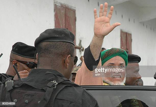 Ahmed Abdallah Mohamed Sambi the president of Comoros waves upon his arrival to the Comoran island of Anjouan on April 5 2008African Union President...