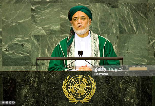 Ahmed Abdallah Sambi president of Comoros speaks at the 64th annual United Nations General Assembly in New York US on Thursday Sept 24 2009 The...