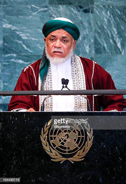 Ahmed Abdallah Sambi president of Comoros speaks during the 65th annual United Nations General Assembly at the UN in New York US on Friday Sept 24...
