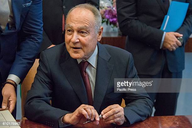 Ahmed Aboul Gheit SecretaryGeneral of the League of Arab States participated in a signing ceremony for the signing of a cooperative protocol at UN...