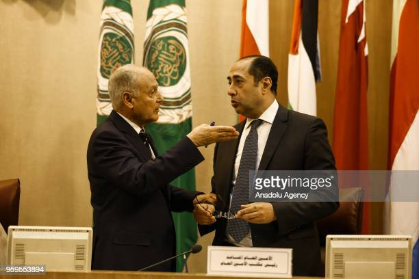 Ahmed AboulGheit SecretaryGeneral of the Arab League chats with Hossam Zaki Assistant Secretary General of the Arab League during the Arab League...