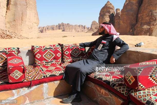 Ahmed Al Imam a tour guide relaxes in an outdoor seating area at Shaden a new luxury 5star desert camp in Al Ula Saudi Arabia on Wednesday Feb 1 2017...