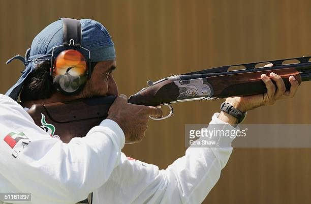 Ahmed Almaktoum of the United Arab Emrites who won the gold medal competes in the men's double trap event on August 17 2004 during the Athens 2004...