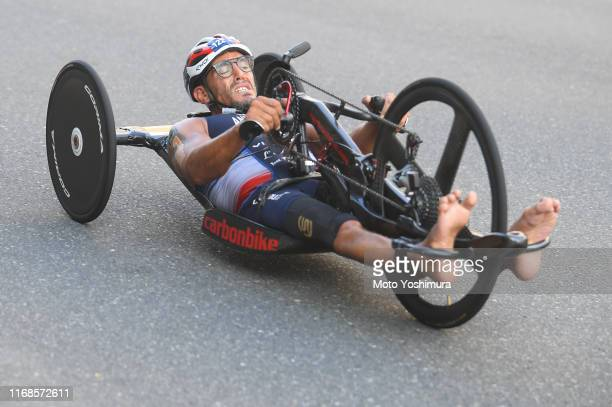 Ahmed Andaloussi of France competes in the Men's PTWC bike during the ITU Paratriathlon World Cup on August 17, 2019 in Tokyo, Japan.