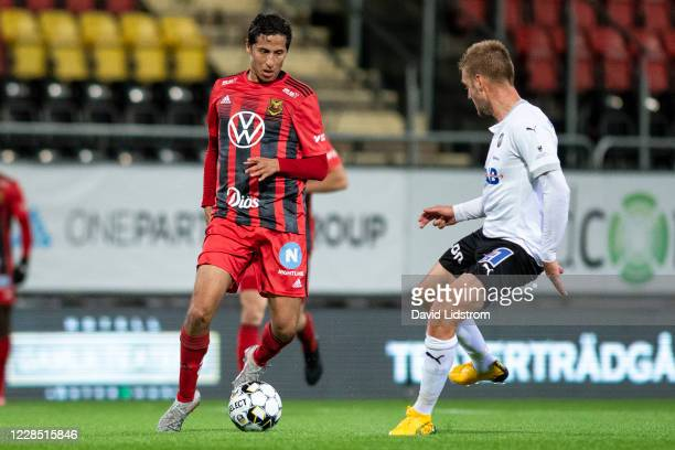 Ahmed Awad of Ostersunds FK during the Allsvenskan match between Ostersunds FK and Orebro SK at Jamtkraft Arena on September 14, 2020 in Ostersund,...