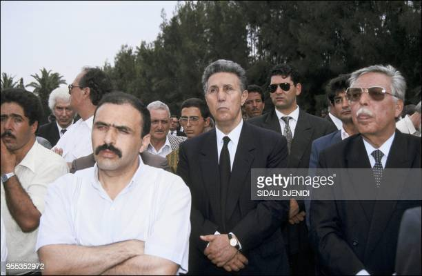 Ahmed Ben Bella at the funeral of Algeria's assassinated president Mohamed Boudiaf