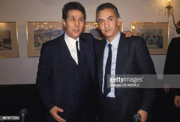 Ahmed Ben Bella et Hocine Aït Ahmed lors d'une conférence le 16 décembre 1985 à Londres au RoyaumeUni