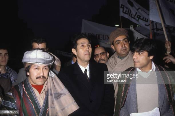Ahmed Ben Bella lors d'une manifestation en janvier 1981 en Algérie