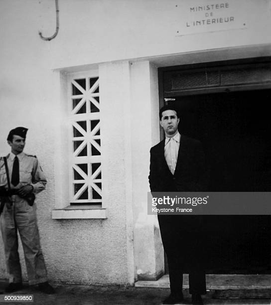 Ahmed Ben Bella one of the six rebels of the FLN arrested in Algiers on October 24 1956 in Algiers Algeria