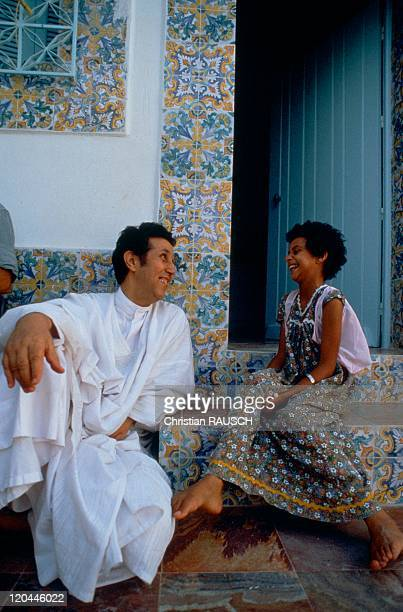 Ahmed Ben Bella With Her Daughter In 1981 He is historic leader of the FLN elected President of the Republic in 1963 and overthrown in 1965 by...