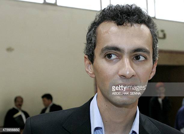 Ahmed Benchemsi publisher of the Nishan and TelQuel weeklies is shown 07 August 2007 at the trial of Abderrahim Ariri director of Moroccan Newspaper...