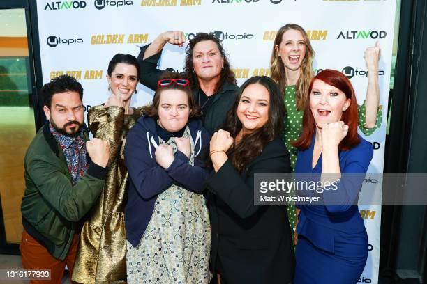 "Ahmed Bharoocha, Mary Holland. Dot-Marie Jones, Dawn Luebbe, Kate Flannery, Maureen Bharoocha, and Betsy Sodaro attends Utopia Films presents ""Golden..."