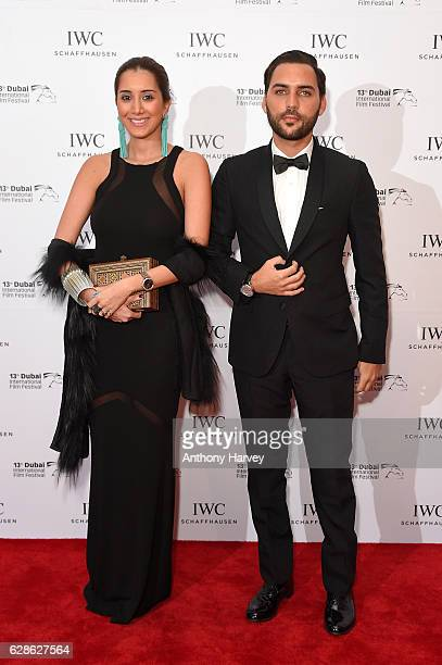 Ahmed Daabas and Lea Yassine attend the fifth IWC Filmmaker Award gala dinner at the 13th Dubai International Fil Festival during which Swiss luxury...