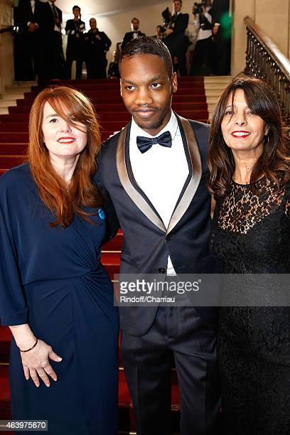 Ahmed Drame MarieCastille MentionSchaar and a guest arrive at the 40th Cesar Film Awards 2015 Cocktail at Theatre du Chatelet on February 20 2015 in...
