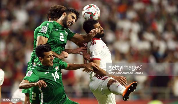 Ahmed Ebrahim of Iraq In Action during the AFC Asian Cup Group D match between Iran and Iraq at Al Maktoum Stadium on January 16 2019 in Dubai United...