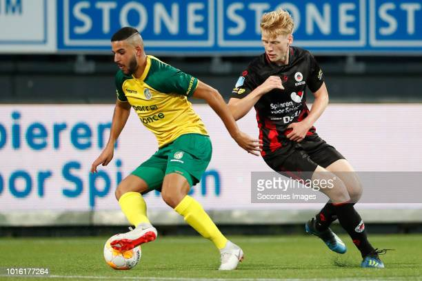 Ahmed El Messaoudi of Fortuna Sittard Jerdy Schouten of Excelsior during the Dutch Eredivisie match between Excelsior v Fortuna Sittard at the Van...