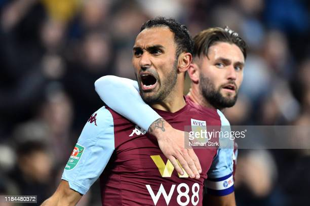 Ahmed El Mohamady of Aston Villa celebrates with Henri Lansbury after scoring his team's second goal during the Carabao Cup Round of 16 match between...