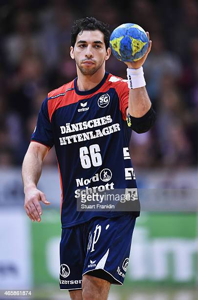 Ahmed Elahmar of Flensburg in action during the Bundesliga handball game between SG FlensburgHandewitt and SG BBM Bietigheim at the Flens Arenaon...