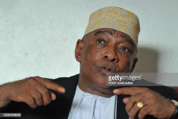 Ahmed elBarwan General Secretary of Comoros' opposition party gives an interview at the Juwa party offices at Moroni on July 27 2018 where an...