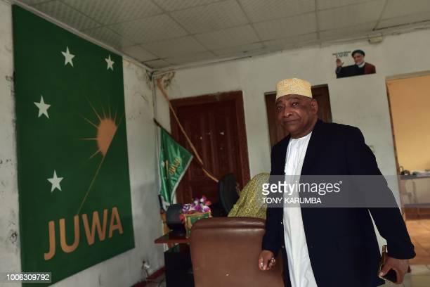 Ahmed elBarwan General Secretary of Comoros' opposition party is seen at the Juwa party offices at Moroni on July 27 where an upcoming referendum has...
