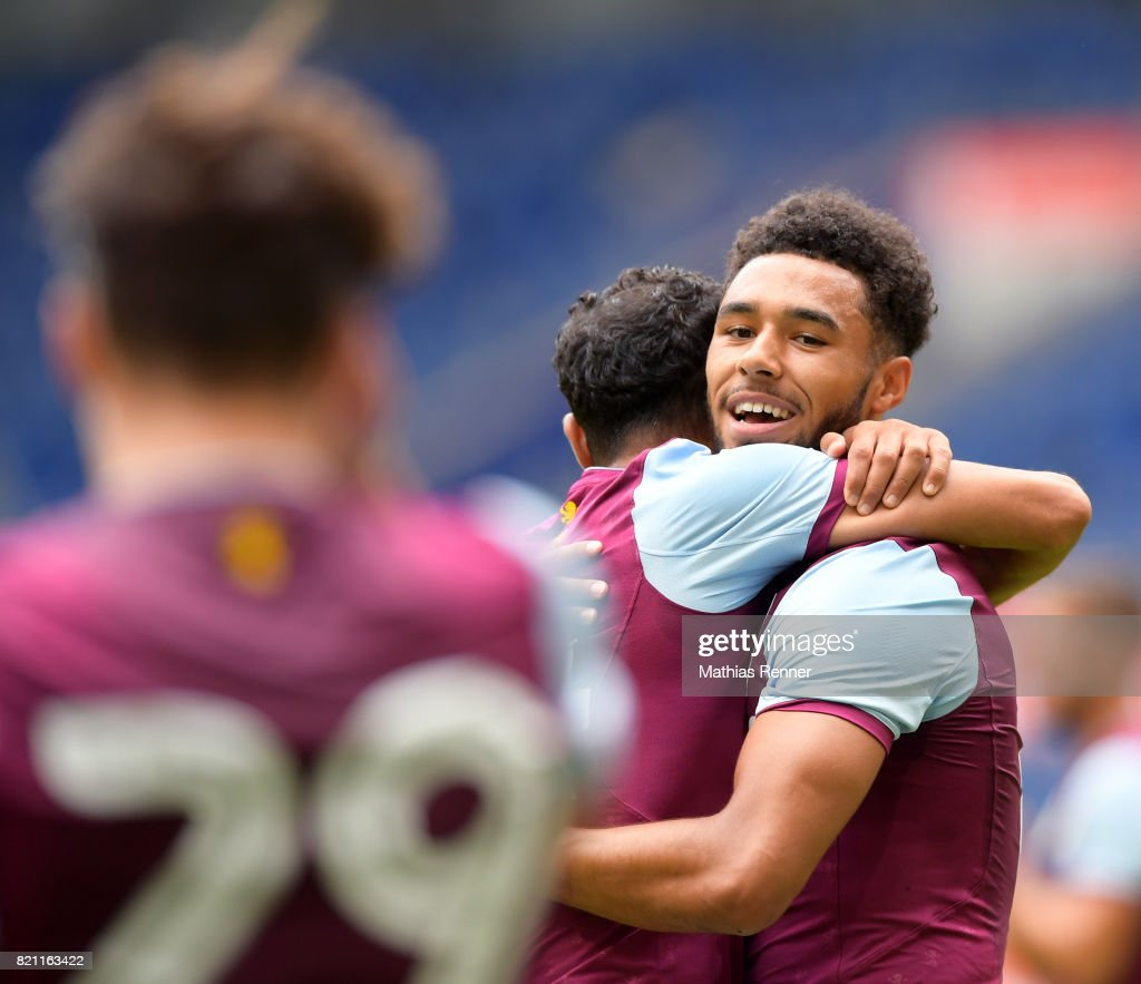Ahmed Elmohamady Eissa;Andre Green of Aston Villa during the game between Aston Villa and the MSV Duisburg on July 23, 2017 in Duisburg, Germany.