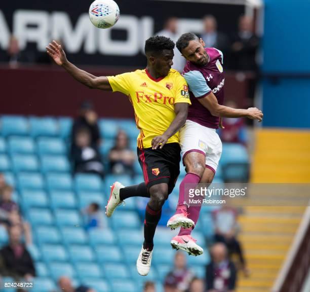 Ahmed Elmohamady of Aston Villa and Brandon Mason of Watford during the pre season friendly match between Aston Villa and Watford at Villa Park on...