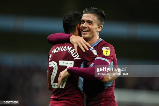 Ahmed Elmohamady of Aston Villa and Jack Grealish of Aston Villa celebrate the second goal during the Sky Bet Championship match at Villa Park on...