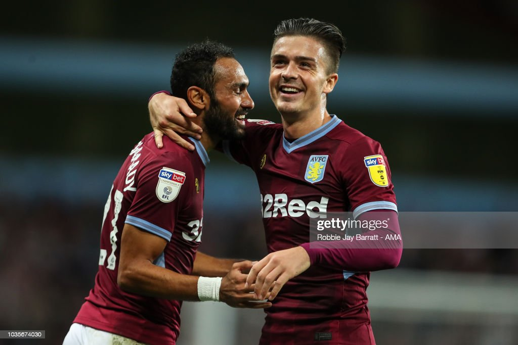 Ahmed Elmohamady of Aston Villa and Jack Grealish of Aston Villa celebrate the second goal during the Sky Bet Championship match at Villa Park on September 18, 2018 in Birmingham, England.