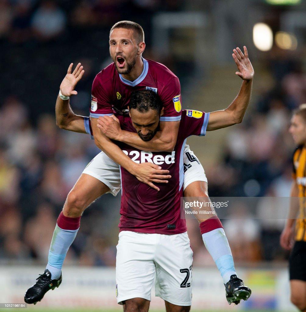 Ahmed Elmohamady of Aston Villa celebrates scoring for Aston Villa during the Sky Bet Championship match between Hull City and Aston Villa at KCOM Stadium on August 06, 2018 in Hull, England.