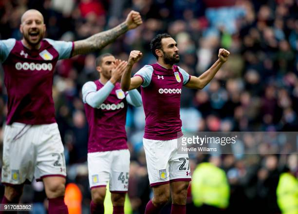 Ahmed Elmohamady of Aston Villa during the Sky Bet Championship match between Aston Villa and Birmingham City at Villa Park on February 11 2018 in...