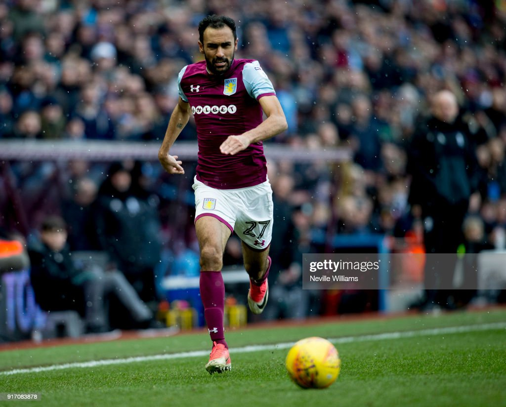 Ahmed Elmohamady of Aston Villa during the Sky Bet Championship match between Aston Villa and Birmingham City at Villa Park on February 11, 2018 in Birmingham, England.