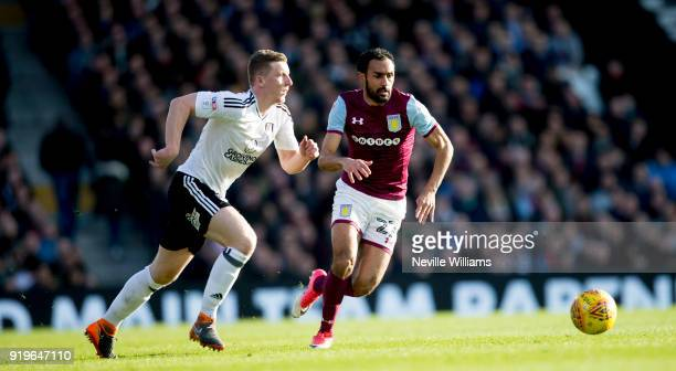 Ahmed Elmohamady of Aston Villa during the Sky Bet Championship match between Fulham and Aston Villa at Craven Cottage on February 17 2018 in London...