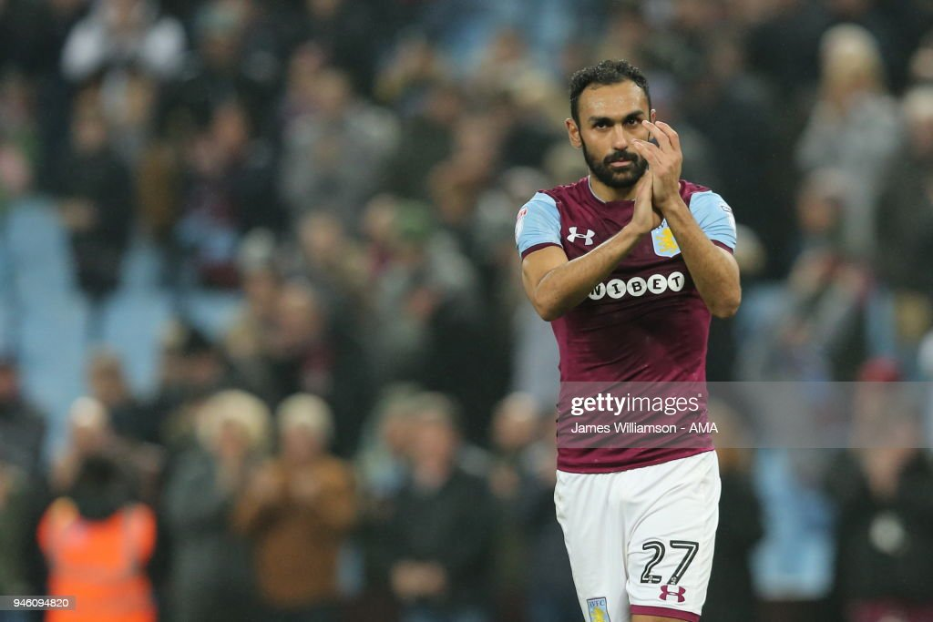 Ahmed Elmohamady of Aston Villa during the Sky Bet Championship match between Aston Villa and Leeds United at Villa Park on April 13, 2018 in Birmingham, England.