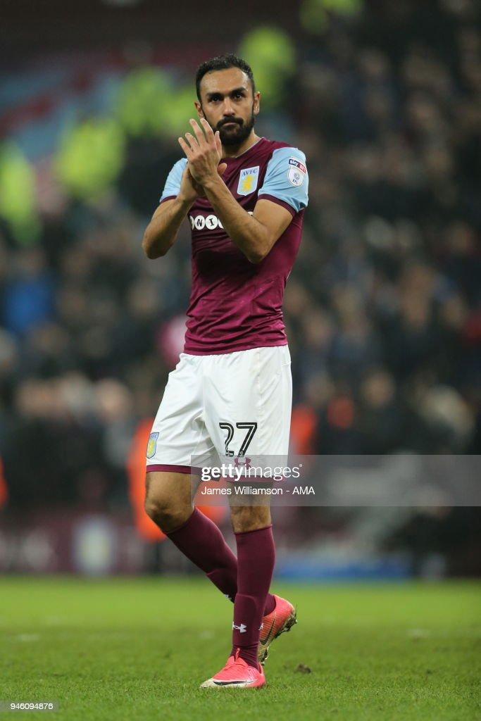 Ahmed Elmohamady of Aston Villa during the Sky Bet Championship match between Aston Villa and Leeds United at Villa Park on April 13, 2018 in Birmingham, England.
