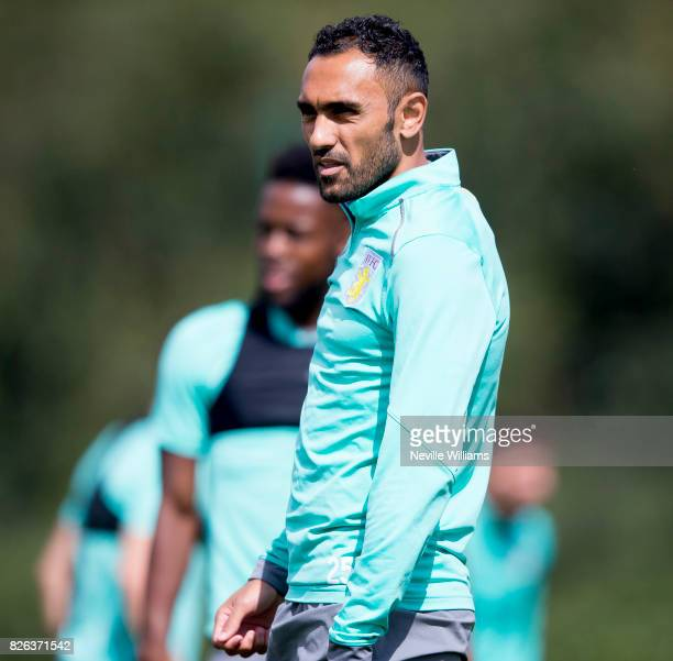 Ahmed Elmohamady of Aston Villa in action during a Aston Villa training session at the club's training ground at Bodymoor Heath on August 04 2017 in...