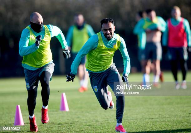 Ahmed Elmohamady of Aston Villa in action during a Aston Villa training session at the club's training ground at Bodymoor Heath on January 17 2018 in...