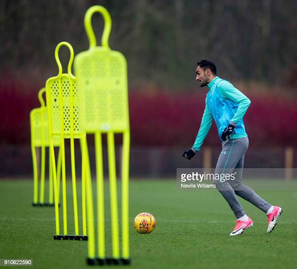 Ahmed Elmohamady of Aston Villa in action during a Aston Villa training session at the club's training ground at Bodymoor Heath on January 26 2018 in...