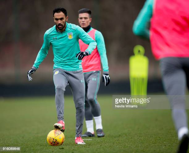 Ahmed Elmohamady of Aston Villa in action during a Aston Villa training session at the club's training ground at Bodymoor Heath on February 06 2018...