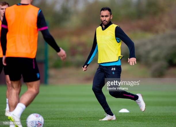 Ahmed Elmohamady of Aston Villa in action during a training session at the club's training ground at Bodymoor Heath on October 18 2018 in Birmingham...
