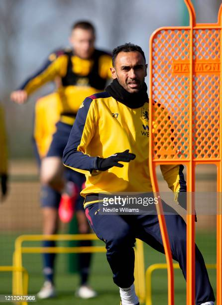 Ahmed Elmohamady of Aston Villa in action during a training session at Bodymoor Heath training ground on March 12 2020 in Birmingham England