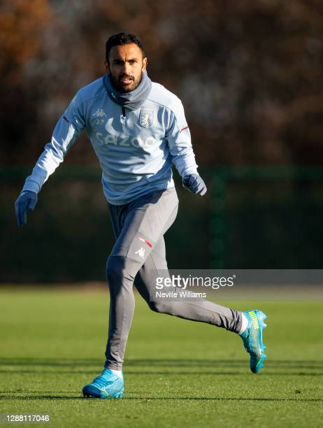 Ahmed Elmohamady of Aston Villa in action during a training session at Bodymoor Heath training ground on November 26 2020 in Birmingham England
