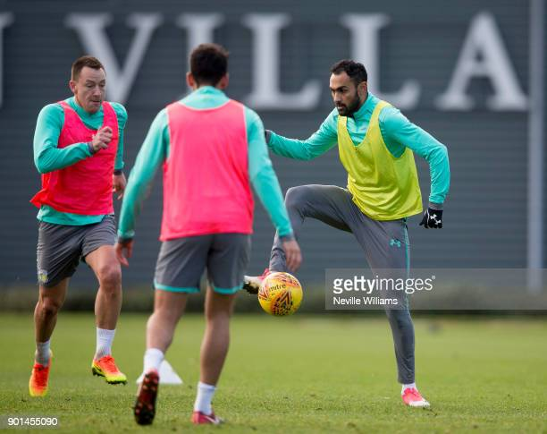 Ahmed Elmohamady of Aston Villa in action during a training session at the club's training ground at Bodymoor Heath on January 04 2018 in Birmingham...