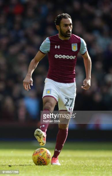 Ahmed Elmohamady of Aston Villa in action during the Sky Bet Championship match between Aston Villa and Birmingham City at Villa Park on February 11...