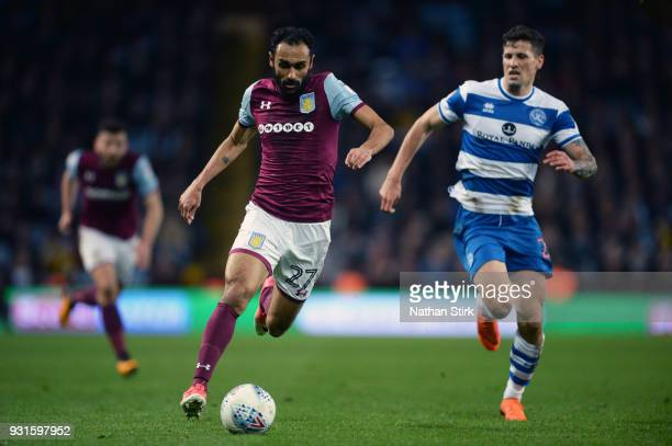 Ahmed Elmohamady of Aston Villa in action during the Sky Bet Championship match between Aston Villa and Queens Park Rangers at Villa Park on March 13...